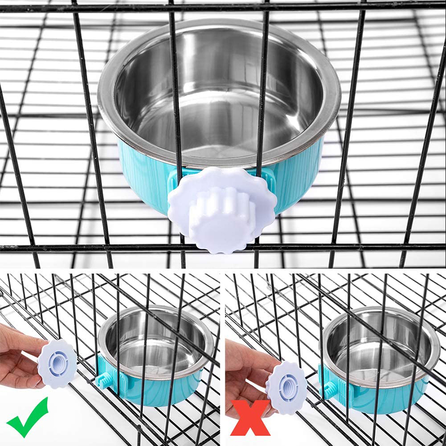 2 in 1 Stainless Steel Dog & Cat Bowl, Removable & Hanging to The Cage