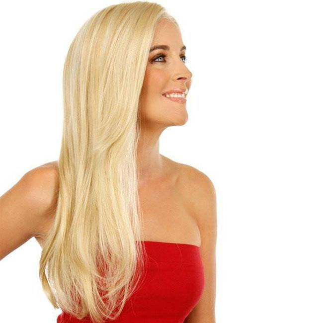KAMI 088 Blonde Long Straight Wigs Looks Natural Synthetic Wig for Women