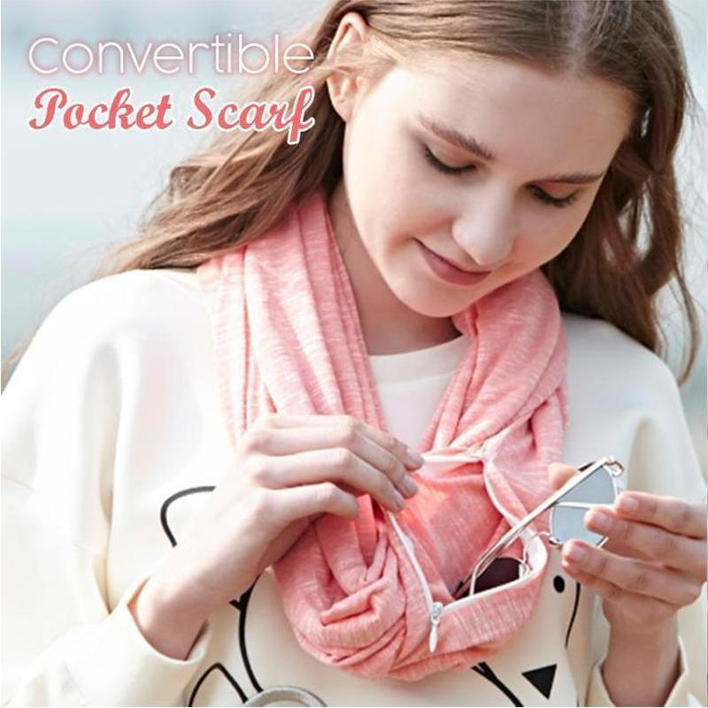 Women Convertible Pocket Scarf with Zipper