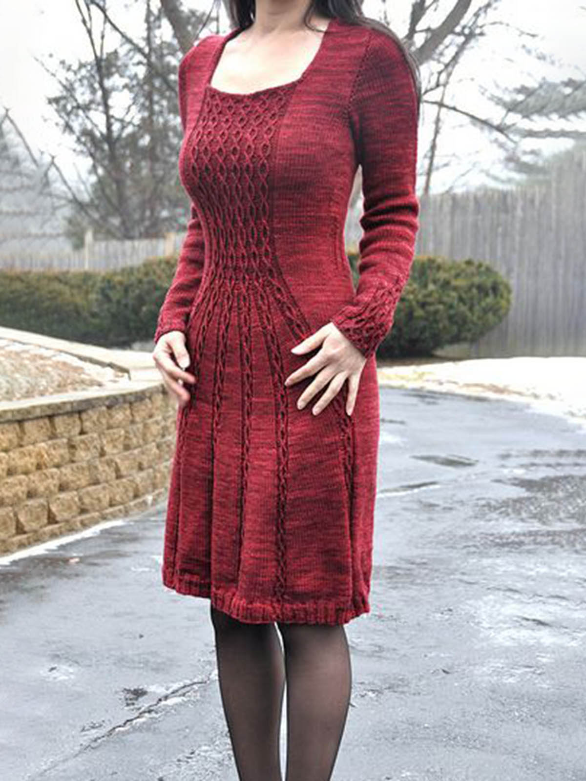 Women's knitted casual sweater dress