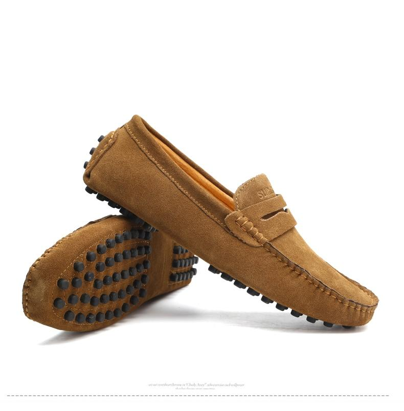 Men's suede penny loafers soft casual driving shoes daily slip on flats