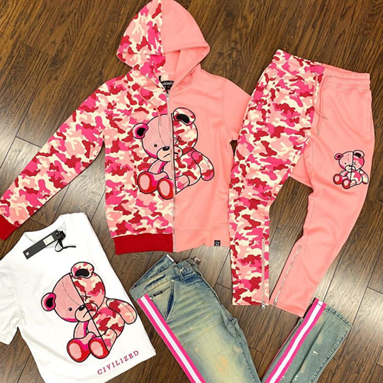 Little bear camouflage stitching pink hooded suit