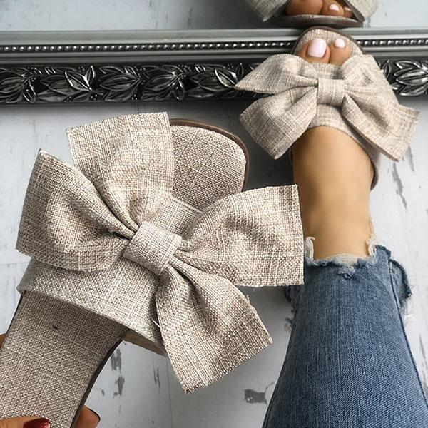 Zoeyootd Women Casual Bow Flat Slippers