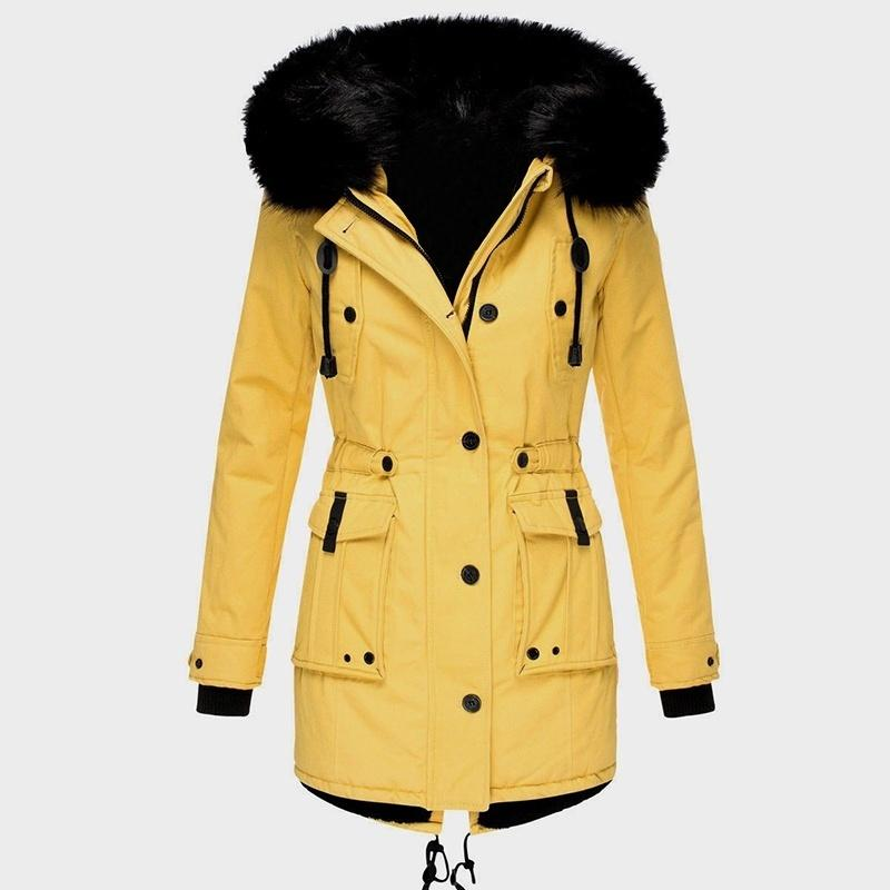 S-5XL Plus Size Women Fashion Winter New 7 Color Casual Loose Collect Waist Solid Drawstring Hooded Warm Pocket Coat For Women