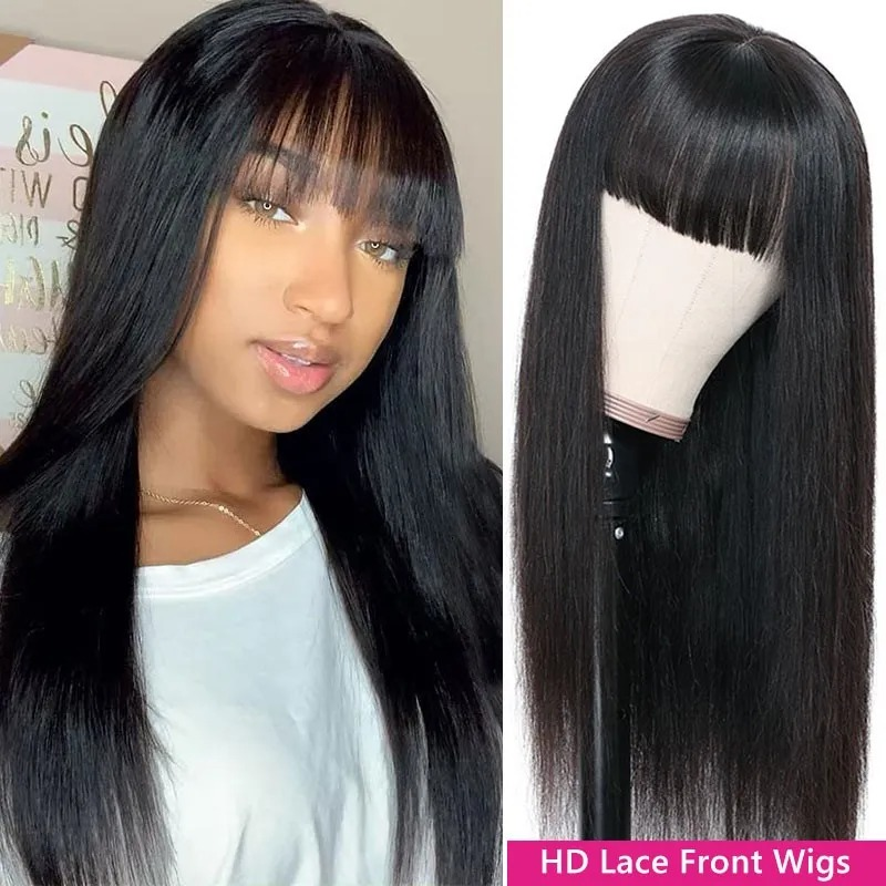 Lacwig® | Straight 13x4 Lacwigs With Bangs 130% Density Virgin Hair Wigs