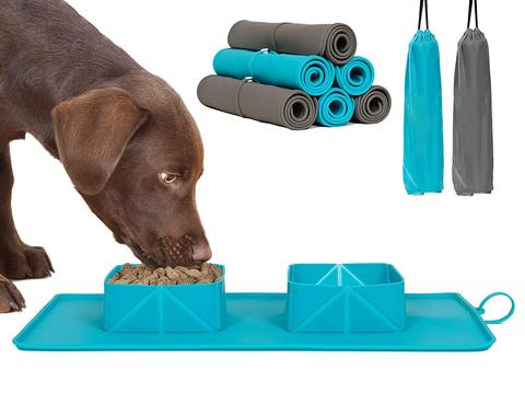 SKRTEN Travel Portable Collapsible Silicone Roll Up Double Pet Bowls With Mat for Cat/Dog