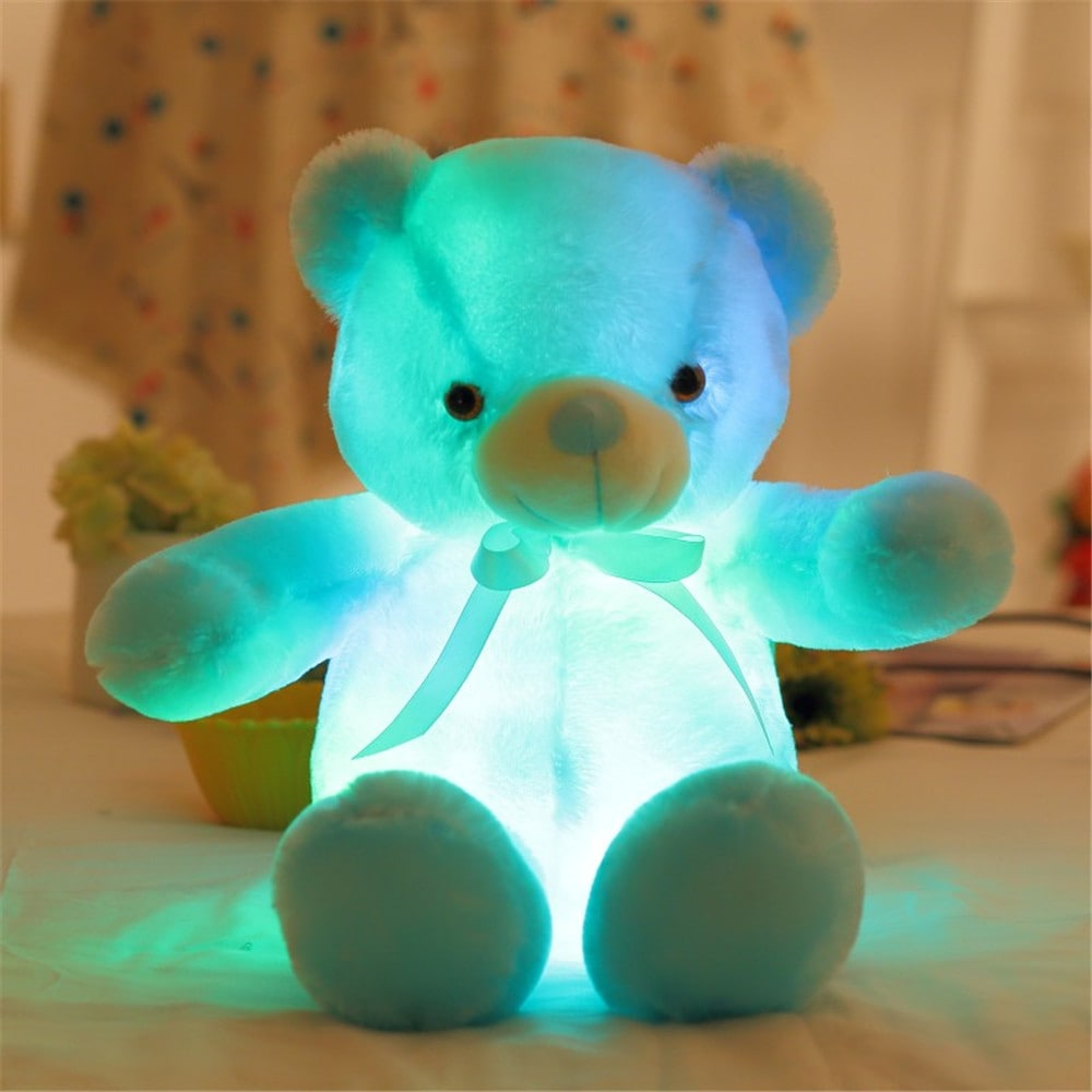 LED Bear Stuffed Animals Plush Toy Pillow Colorful Glowing Bear Doll Plush Toy - White	4