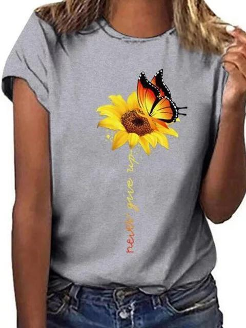 Sunflower Round Neck Short Sleeve Women Shirts & Tops