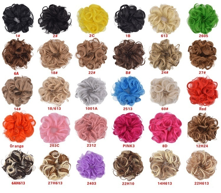 Synthetic Messy Hair Bun Extensions Curly Chignons Donut Hair Updo Scrunchies