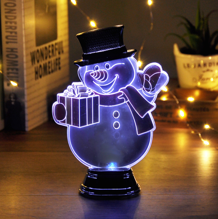 3d santa snowman night light