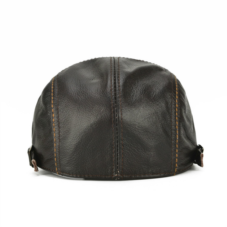 Men's Real Cowhide Leather Beret Hunting Cap