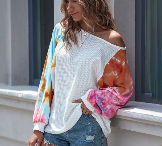 One-line neck tie-dye lace-up sweater bat sleeve sexy off-shoulder top
