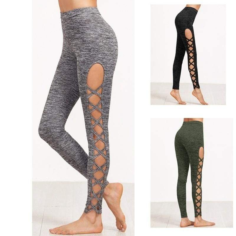 3 Colors Available Womens Cutout Leggings Exercise Running Yoga Sports Fitness Gym Pants