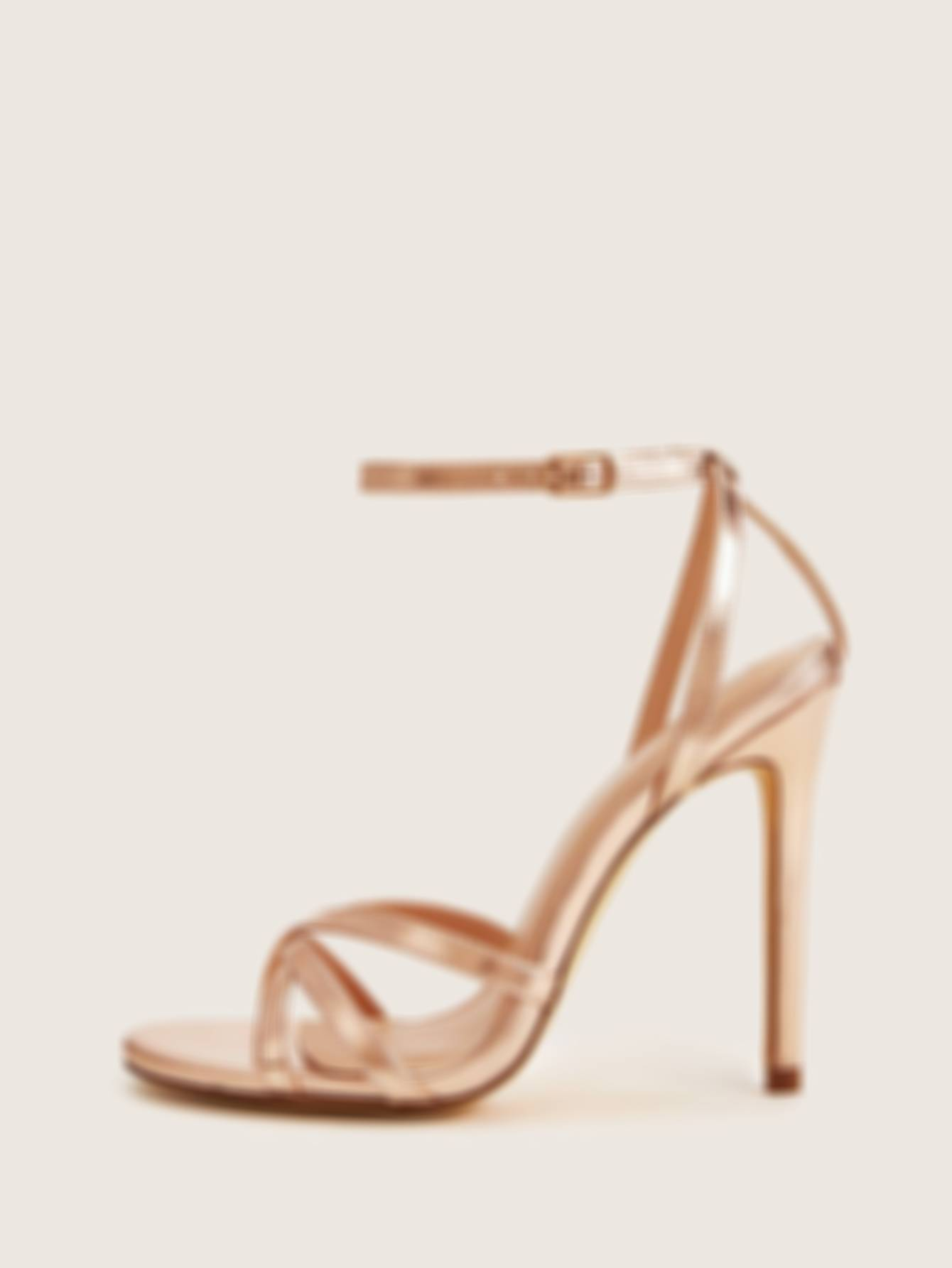Metallic Cross Strap Ankle Strap Heels