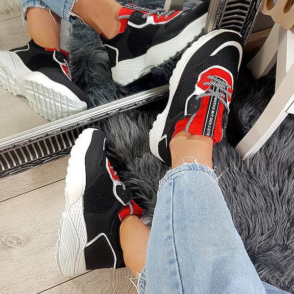 Lemmikshoes Black Red Suede And Mesh Sneakers