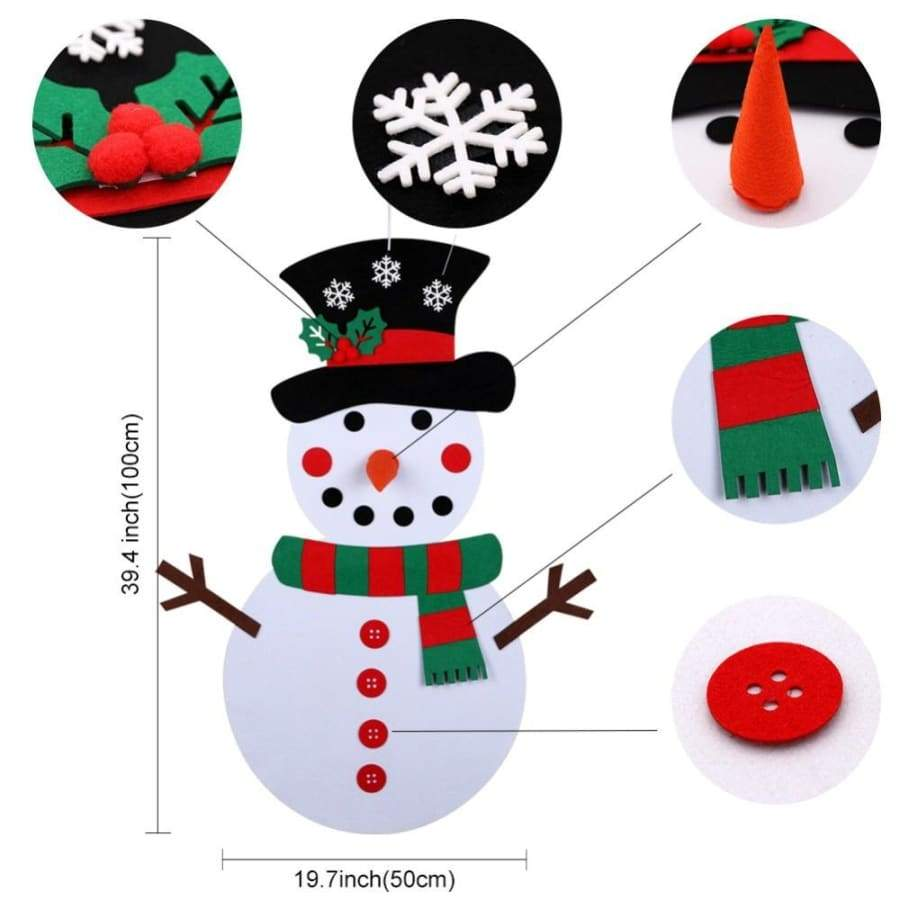 3 Style DIY Felt Christmas Tree Ornaments Kids Gifts Puzzle Toys Stick Door Wall Hanging Xmas Decor