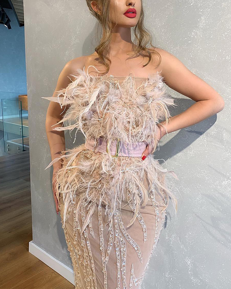 Simple Feather Shiny Tight Evening Dress