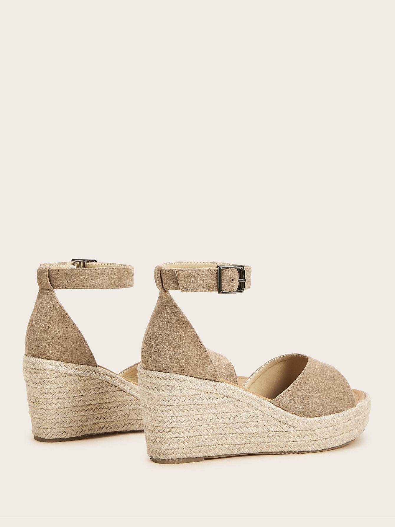 Ankle Strap Suede Espadrille Wedges