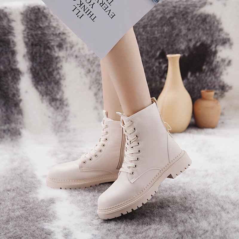 Fashion Zipper Flat Shoes Woman High Heel Platform PU Leather Boots Lace up Women Shoes Ankle Boots Girls 35-40