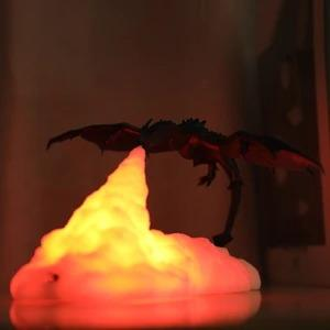 3D Printed Dragon With LED Warm Light