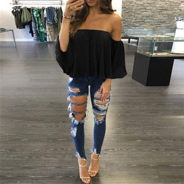 Fantastic Women Long Sleeve Pullover T Shirt Off Shoulder Casual Blouse  S/M/L/XL