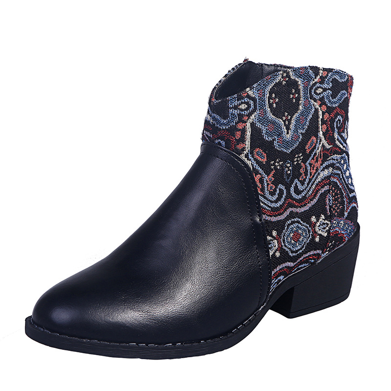 Ladies ethnic stitching leather boots