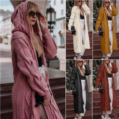Women's cable knit hooded long cardigan sweater open front cardigan
