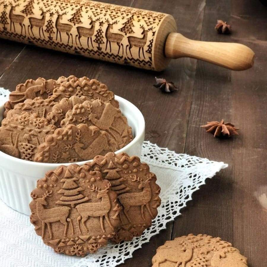 Wooden Embossed Dough Rolling Pin Laser Engraved Pastry Christmas Cake Cookies Baking Tool Stick Roller Kitche