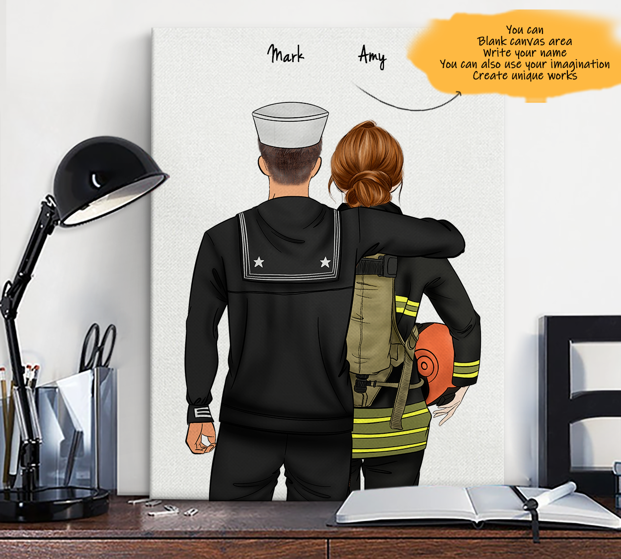 He is My Friend! Hand Draw Custom Canvas-Print Gift NavyUS-Tan&Firefighter