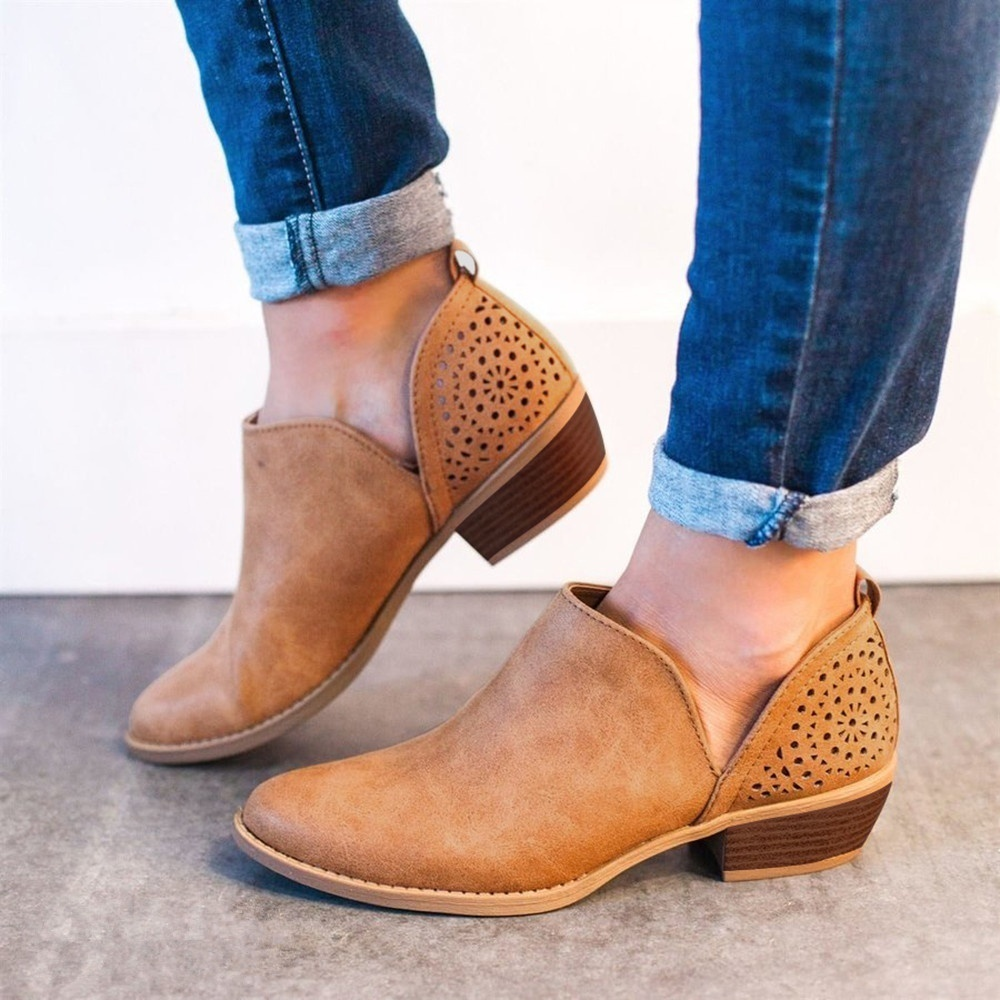 Women Spring Summer Fashion Cut-out Faux Suede Ankle Boots Ladies Casual Hollow-out Chunky Heel Booties Shoes Plus Size