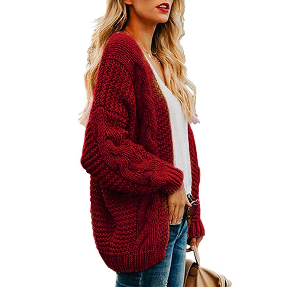 Women's open front chunky knit cardigan sweater