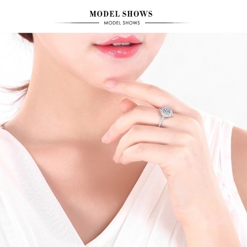 Round Inlay Diamond Ring European Fashion Classic Jewelry for Party Wedding Accessories of Women and Girls