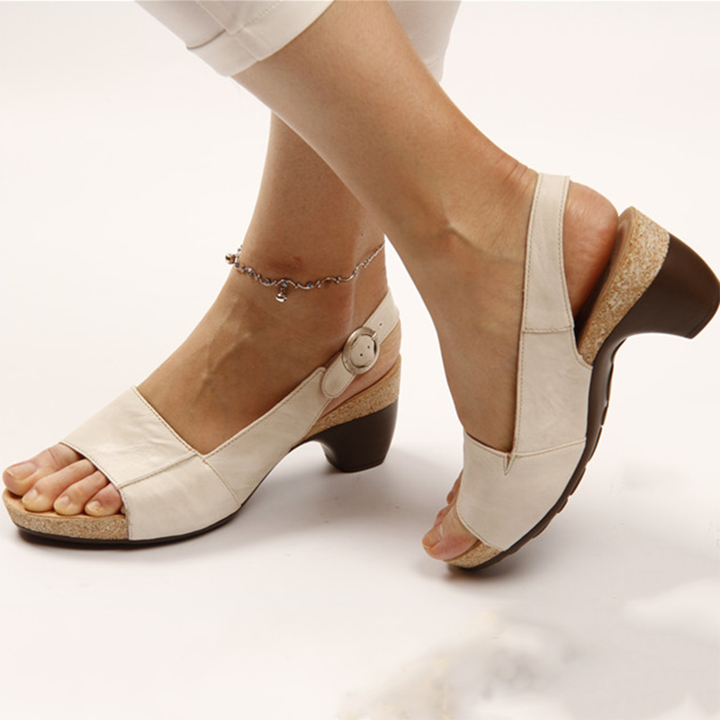 Comfortable and elegant low leather high heel sandals