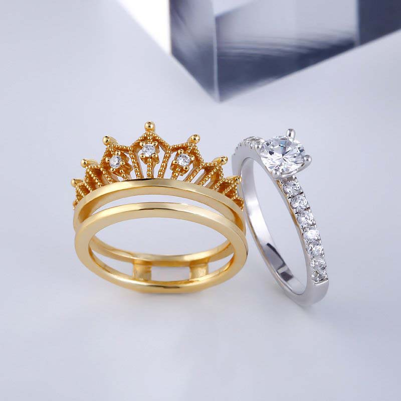 👑50% OFF👑-Crown Round Cut White Sapphire Sterling Silver Women's Ring Set