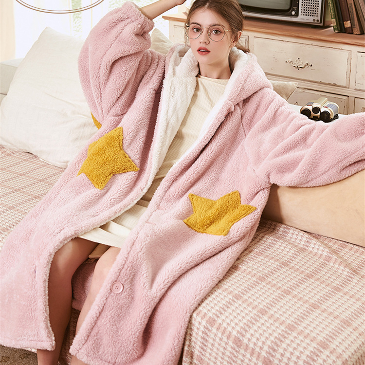 Button Hooded Plush Fleece Flannel Robe