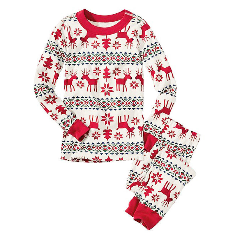 HERIN  Red and White Striped Reindeer Print Family Matching Pajamas Sets