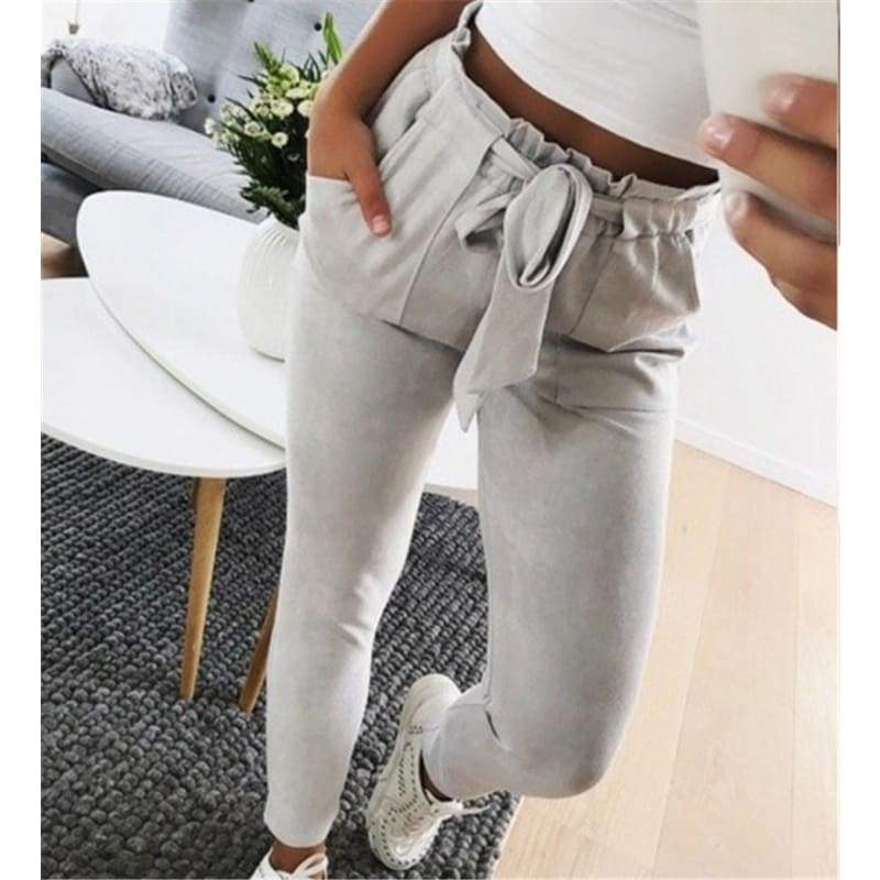 Casual Slim Skinny Straight Pants High Wiast Lace Up Bodysuit Women Pencil Trouser