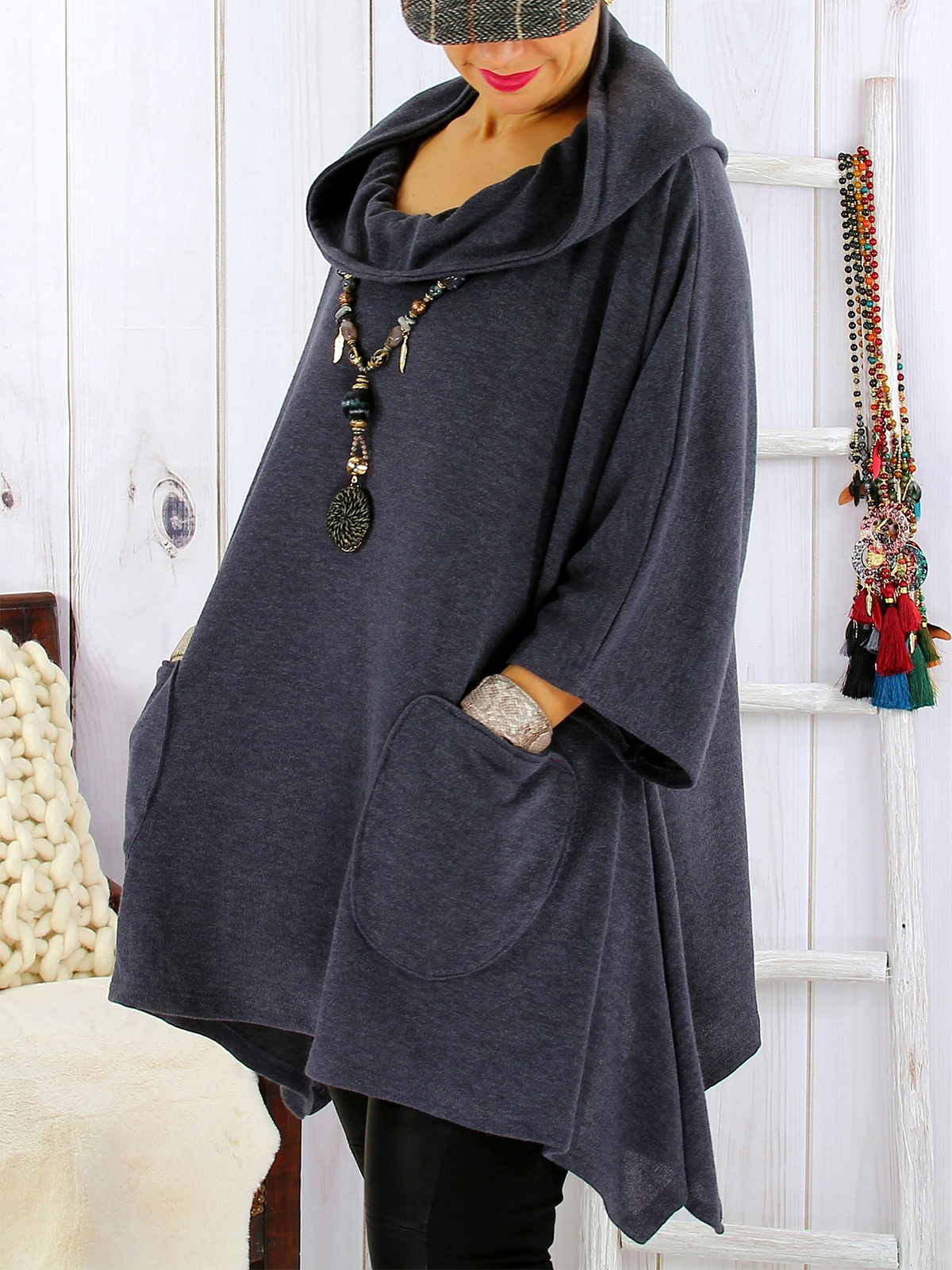 Casual Cotton,Polyester Long Sleeve with T Shirt(Plus Size)