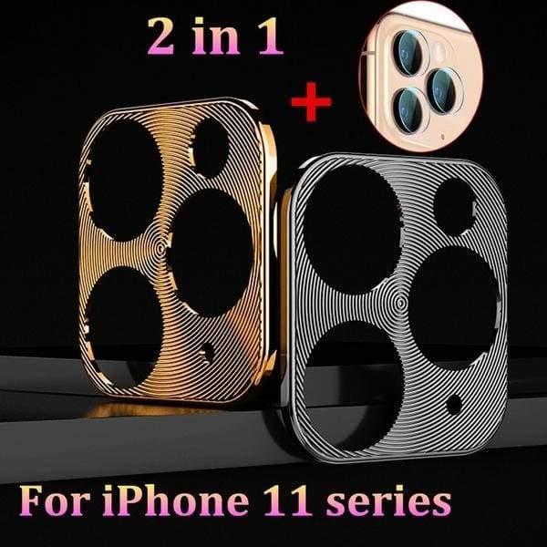 For iPhone 11/11 Pro /XI Pro Max Back Camera Cover Aluminum Alloy Ring Case + soft glass Camera Protective Film
