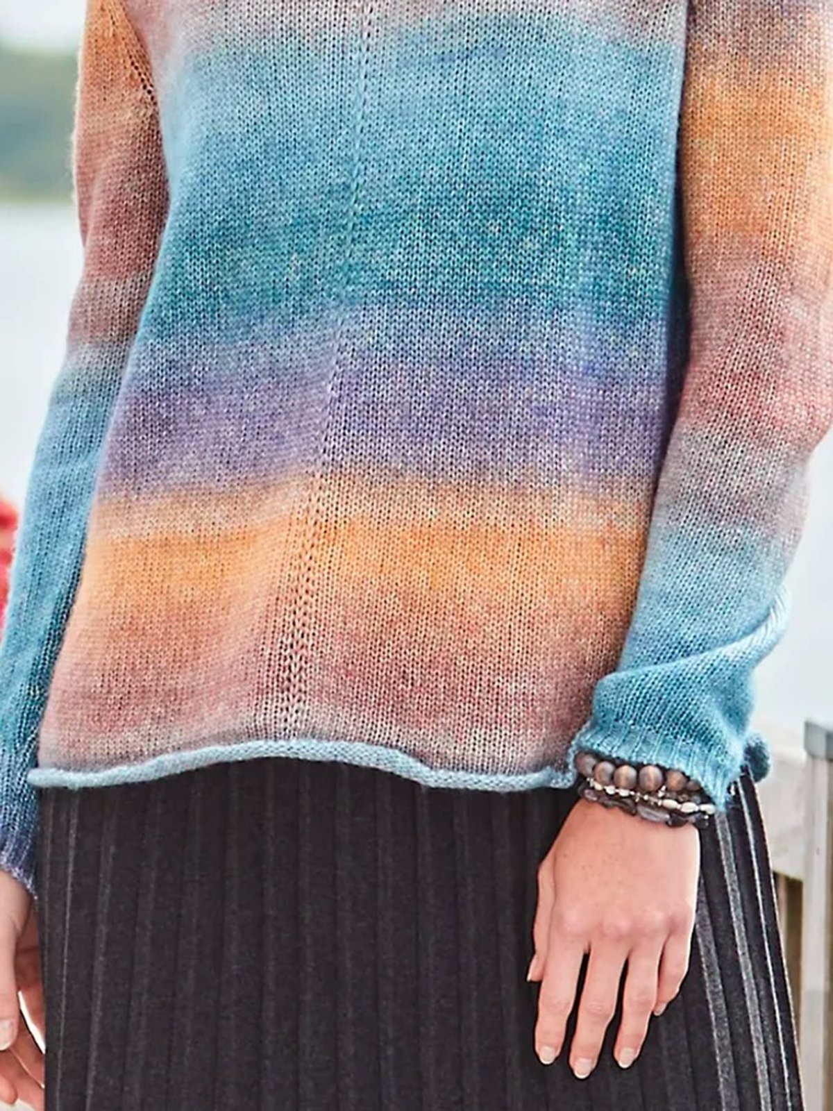 Cowl Neck Shift Multicolor Long Sleeve Knitted Casual Sweater