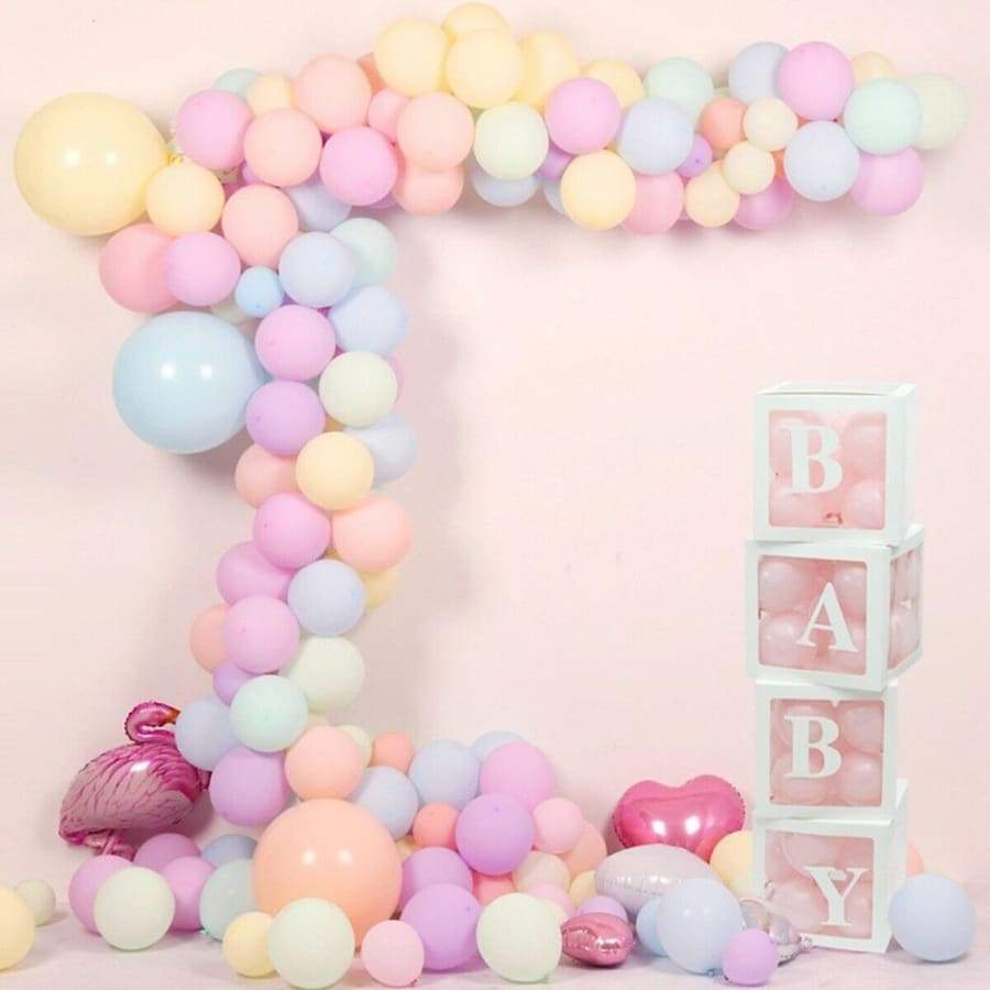 30X30X30CM Cube Transparent White Box Latex Balloon BABY LOVE YOU Blocks for Boy Girl Baby Shower Wedding Birthday Party Decoration Backdrop (without balloons)
