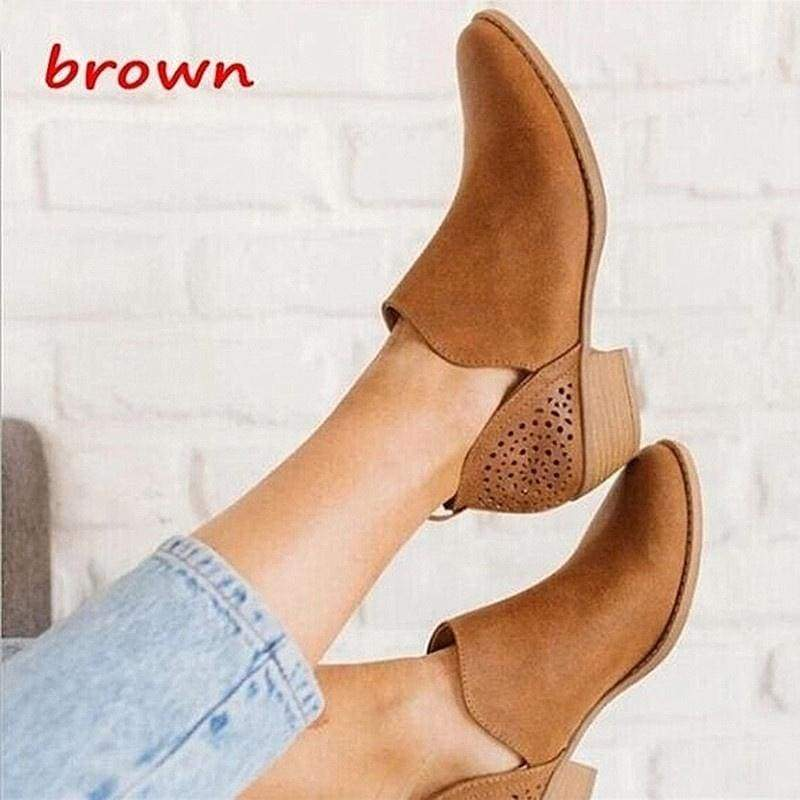 Women Retro Style Solid Leather Ankle Boots Cut-Out Low Chunky Heel Round Toe Casual Boots