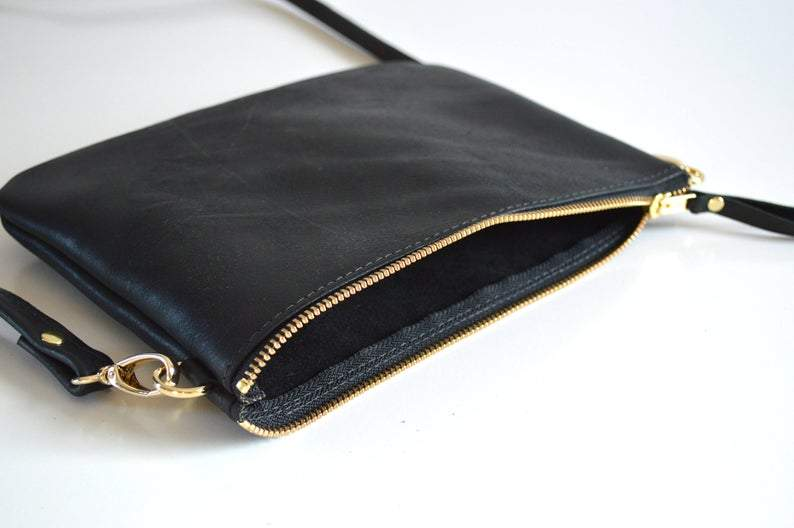 Small Leather Crossbody Bag. Minimalist Leather Purse Converts to Wristlet Clutch Bag. Choose Your Colour - Black, Toffee, Brown or Whiskey        Update your settings