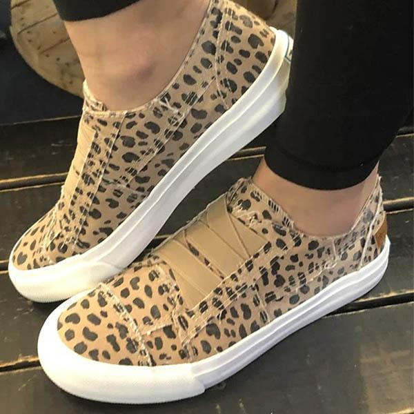 Faddishshoes Women Latte Spots Slip on Sneakers