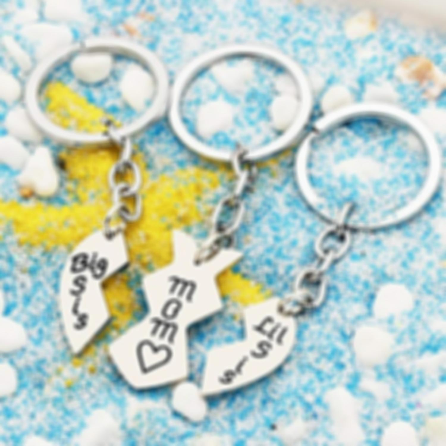 Lmfens-Mom Big Little Sister Love Heart Pendant Key Chain  (Mother Day)   (Buy 2 Free Shipping)