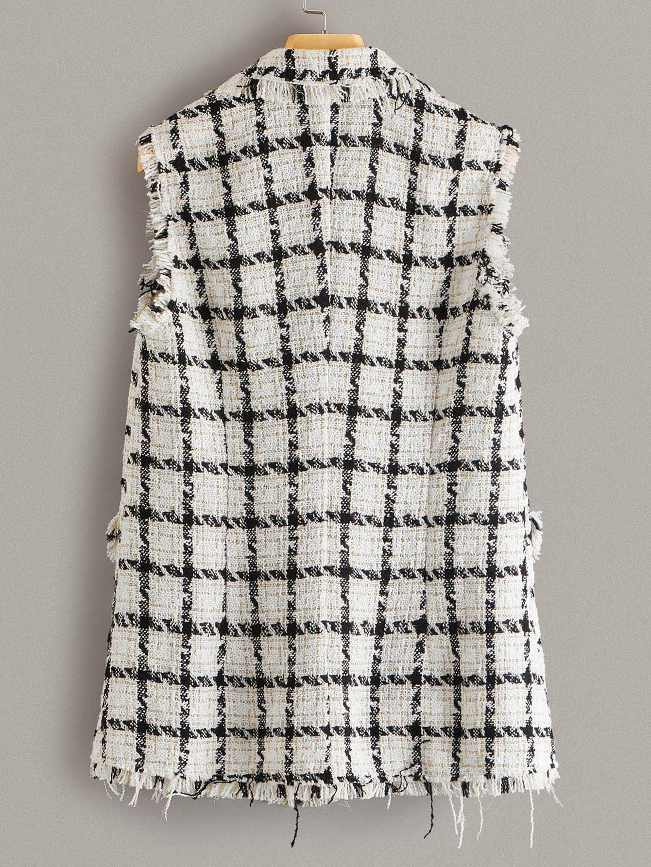 SHEIN Notch Collar Frayed Edge Tweed Vest Blazer