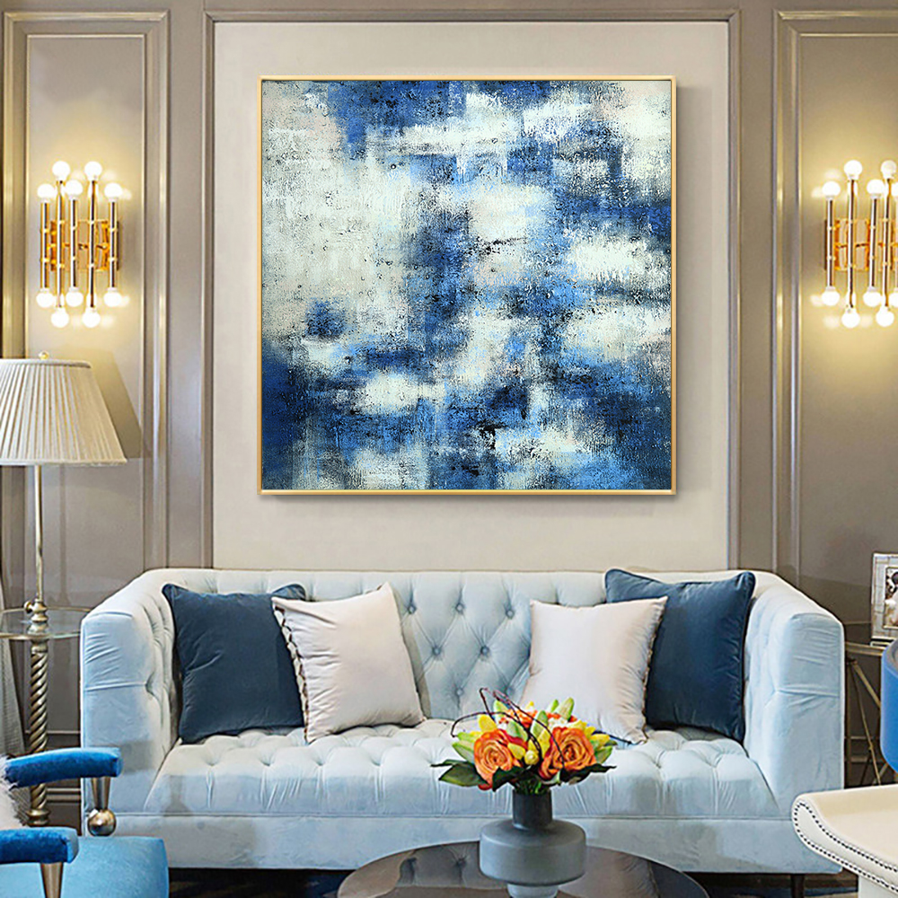 Hand Painted Blue With White Abstract Landscape Oil Painting Canvas Wall Art Fine Modern Unframed Art For Living Room Home Decor
