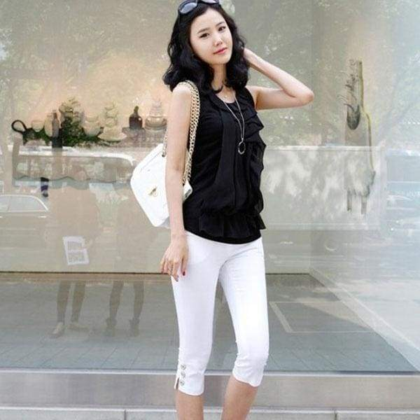 New Women Summer Casual Candy Color Skinny Slim Pencil Pants Trousers Capris