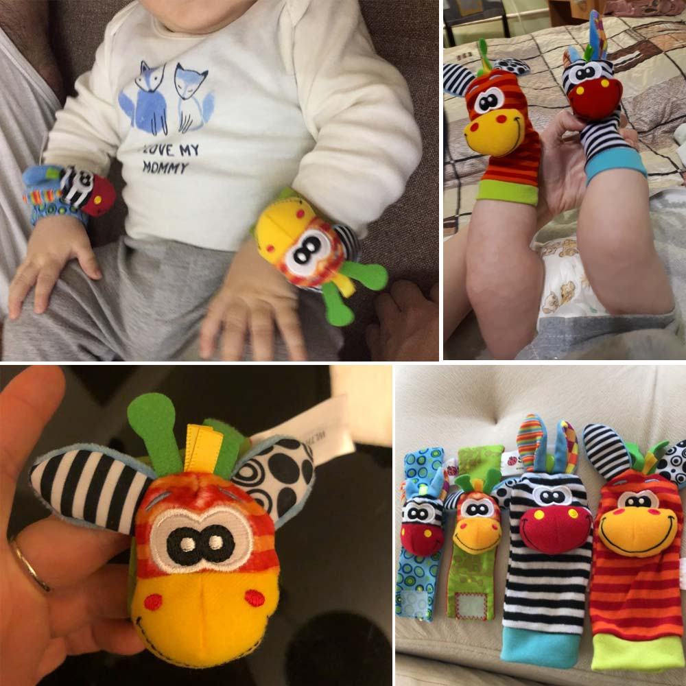 Cartoon Plush Socks Wrist Strap Rattles Baby Toys