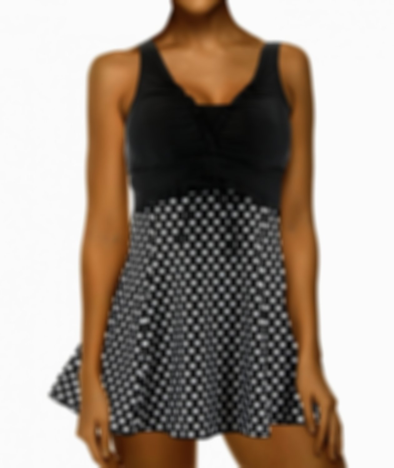 White and Black Polka Swimming Vest and Shorts